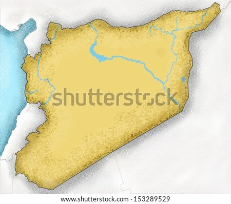 Map of Syria. Hand-drawn map of Syria and neighboring countries - stock photo