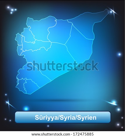 Map of Syria with borders with bright colors - stock photo