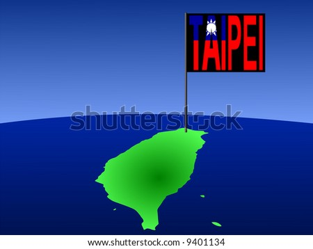 map of Taiwan with position of Taipei marked by flag pole illustration JPG
