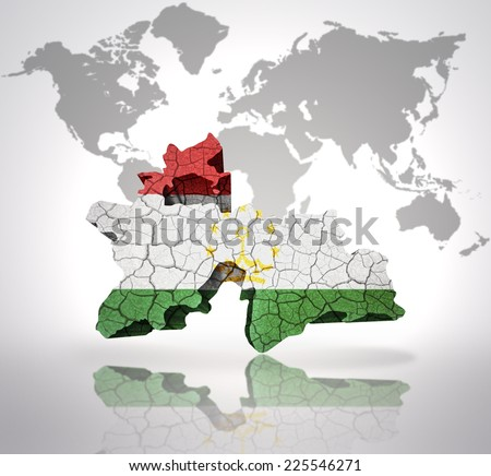 Map Tajikistan Tajik Flag On World Stock Illustration 225546271