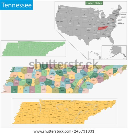 Map of Tennessee state designed in illustration with the counties and the county seats - stock photo