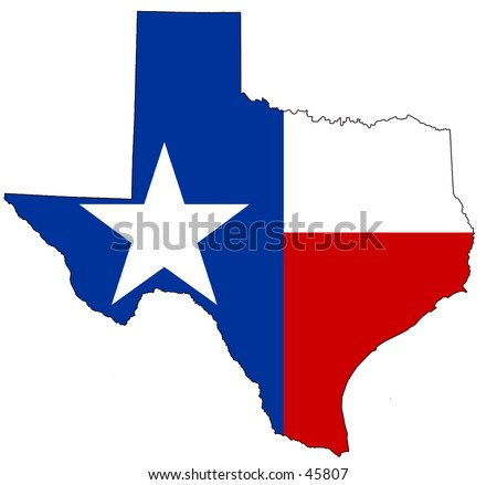 Map of texas, filled with its flag - stock photo