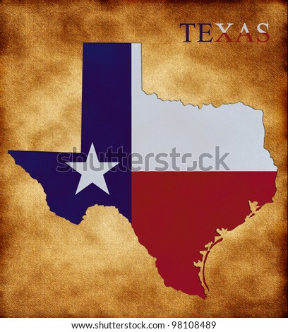 Map of Texas on the old background - stock photo