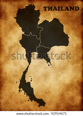 Map of Thailand - stock photo