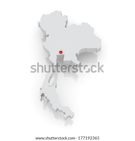 Map of Thailand. 3d - stock photo