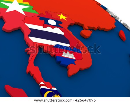 Map of Thailand on globe with embedded flags of countries. 3D illustration.