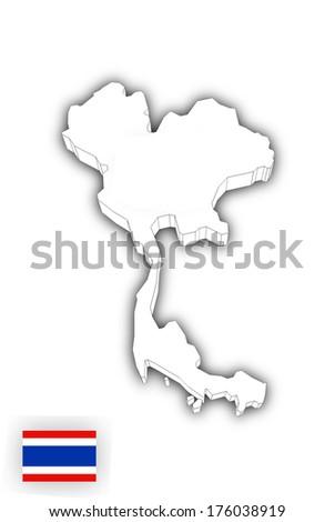 Map of Thailand white - stock photo