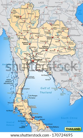 Map of Thailand with highways in pastel orange