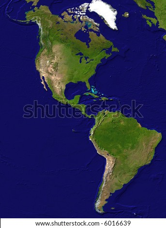 Map of the American continent - stock photo
