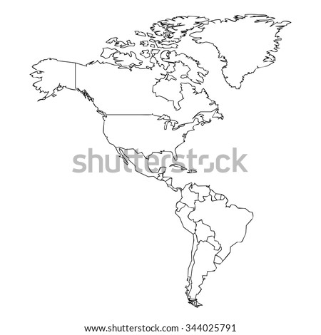 map of the american continent with black outline on white background with main internal borders - stock photo