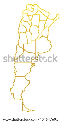 map of the argentinian state with golden outline on white background with main internal borders - gold argentina map stylized - stock photo