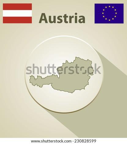 Map of the Austria Including: flag of Austria And European Union. - stock photo