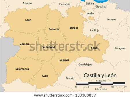 Map of the autonomous community of Castile and Leon (Castilla y Le���³n). Spain. - stock photo