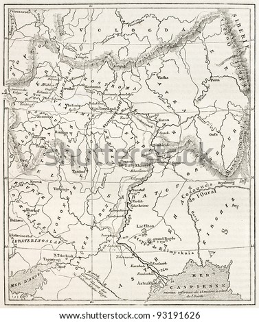 Map of the basin of the Volga. By unidentified author, published on Le Tour du Monde, Paris, 1867 - stock photo