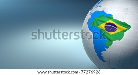 Map of the Brazil on Earth in the national colors. 3d - stock photo