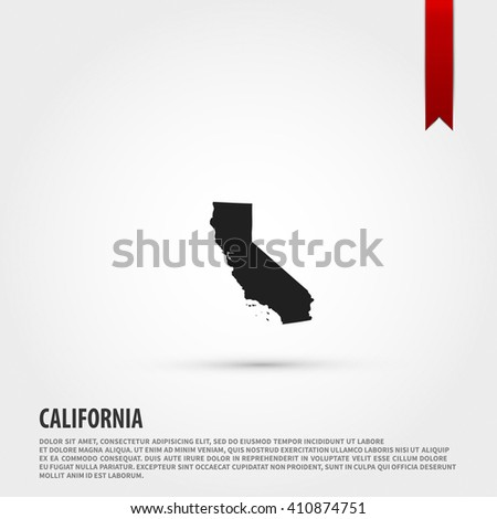 Map of the California state. Flat style design icon. - stock photo