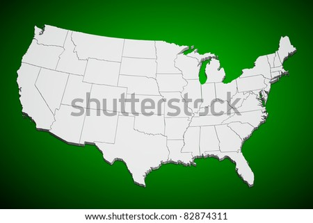 Map of the continental United States green background. - stock photo