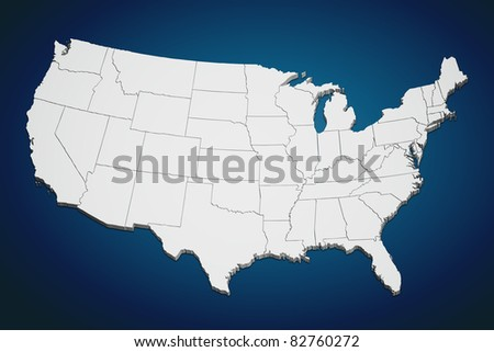 Map of the continental United States on blue background. - stock photo