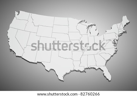 Map of the continental United States on gray background. - stock photo