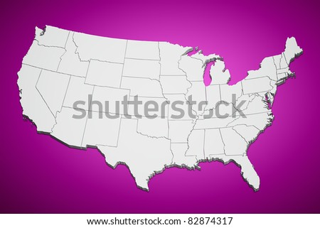 Map of the continental United States pink background. - stock photo