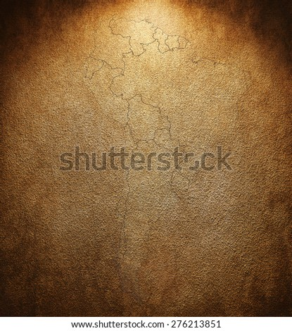 map of the continents on the illuminated wall - stock photo