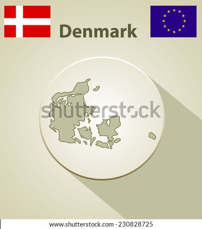 Map of the Denmark Including: flag of Denmark And European Union. - stock photo