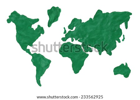 Map of the earth made from green clay. Concept, isolated - stock photo