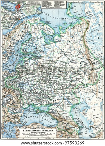 "Map of the European part of Russian Empire. Publication of the book ""Meyers Konversations-Lexikon"", Volume 7, Leipzig, Germany, 1910"
