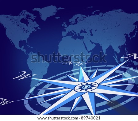 Map of the globe with compass on blue world background representing travel direction and business traveling journey for navigating to new global trading opportunities with the world.