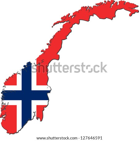 Map of the Kingdom of Norway with national flag isolated on white background (raster illustration) - stock photo