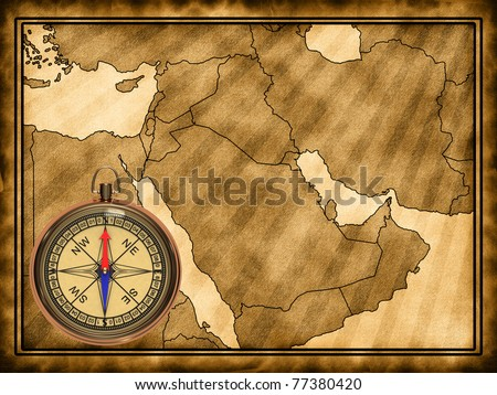 Map of the Middle East with a compass - stock photo