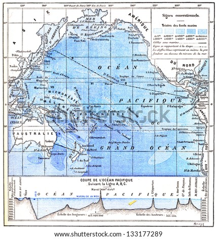 Map of the Pacific Ocean, vintage engraved illustration. Dictionary of Words and Things - Larive and Fleury - 1895 - stock photo