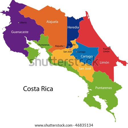 Map of the Republic of Costa Rica with the provinces colored in bright colors and the main cities