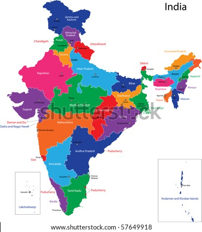 Map of the Republic of India with the states colored in bright colors - stock photo