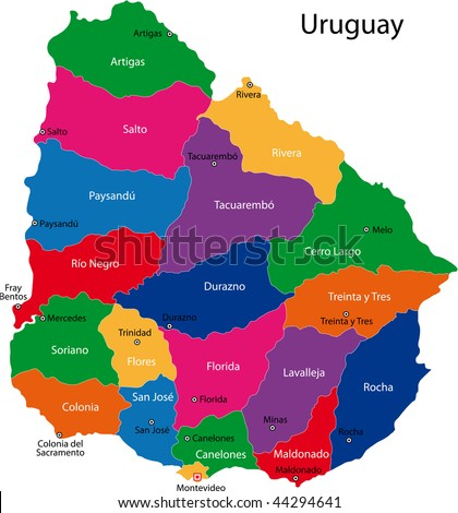 Map of the Republic of Uruguay with the departments colored in bright colors and the main cities - stock photo