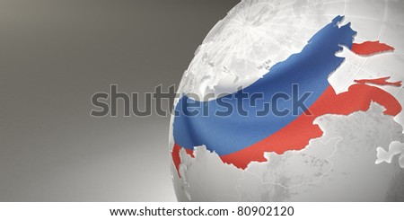 Map of the Russia on Earth in the national colors. 3d - stock photo
