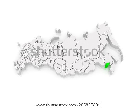 Map of the Russian Federation. Jewish Autonomous Region. 3d