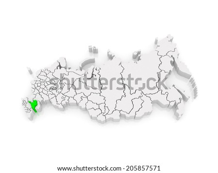 Map of the Russian Federation. Republic of Kalmykia. 3d