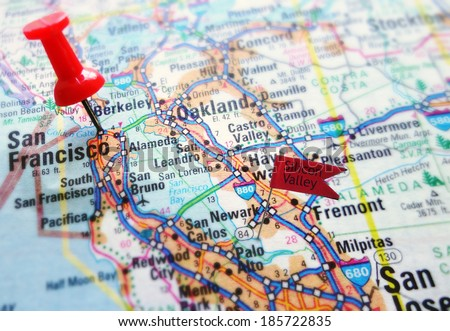 Map of the Silicon Valley section of California - San Francisco and Palo Alto                                - stock photo