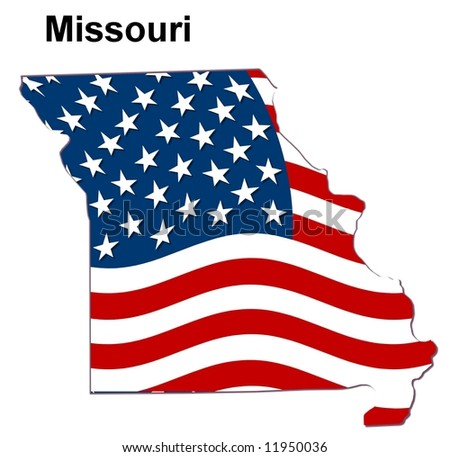 map of the state missouri - american flag