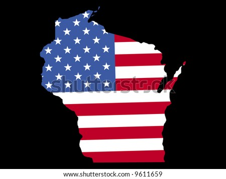 Map of the State of Wisconsin with American flag JPG