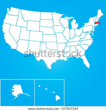 Map of the the United States of American with the states of Massachusetts selected