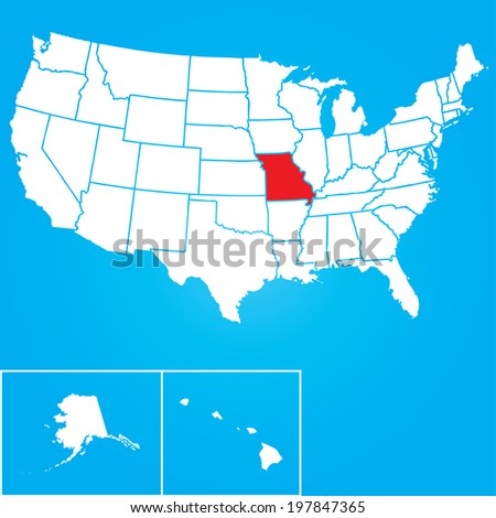 Map of the the United States of American with the states of Missouri selected