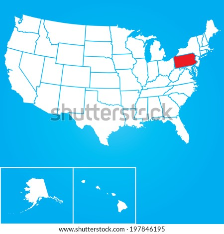 Map of the the United States of American with the states of Pennsylvania selected