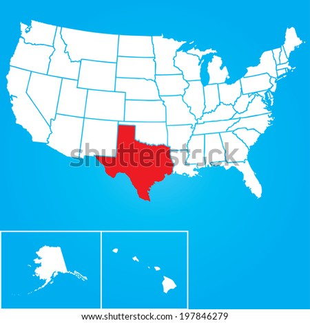 Map of the the United States of American with the states of Texas selected