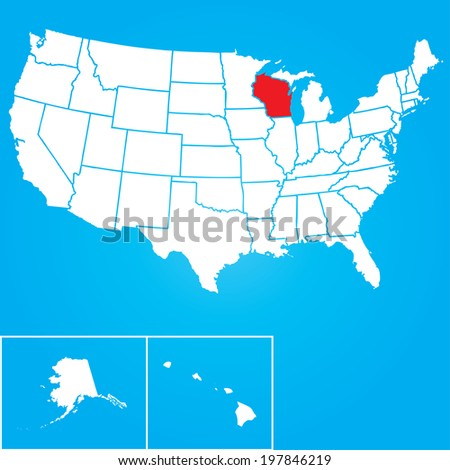 Map of the the United States of American with the states of Wisconsin selected