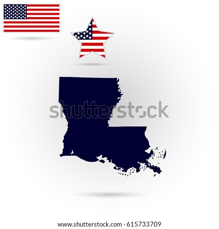 Map Of The U S State Of Louisiana On A Gray Background American Flag Star