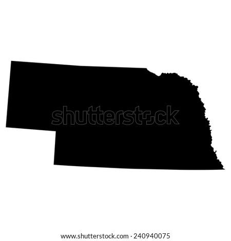 map of the U.S. state of Nebraska  - stock photo