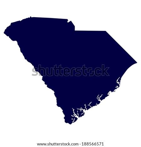 map of the U.S. state of South Carolina  - stock photo