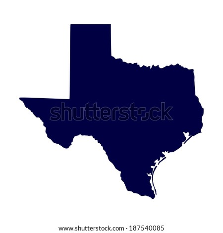 map of the U.S. state of Texas  - stock photo